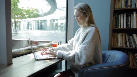 Frau-In-Bequemem-Sessel-Mit-Laptop