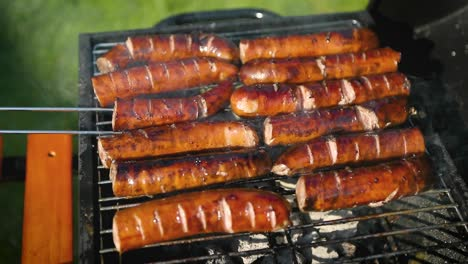 Grilling-tasty-sausages-on-barbecue-grill