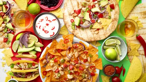 Various-freshly-made-Mexican-foods-assortment-Placed-on-colorful-table