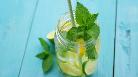 Refreshing-lemonade-on-blue-table-
