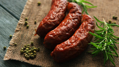 Rosemary-and-pepper-near-whole-sausages