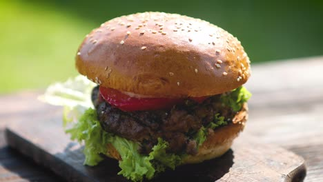 Tasty-beef-burger-with-lettuce-onion-and-tomatoes-served-outdoor-garden