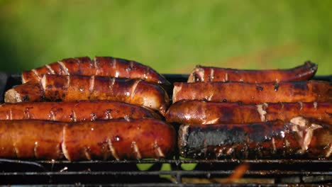 Delicious-fried-sausages-on-home-barbecue