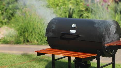 Parrilla-De-Barbacoa-Smokng-En-El-Jard�n-Smokng-barbecue-grill-in-the-garden