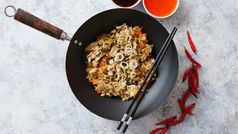Delicious-fried-rice-with-chicken-in-wok