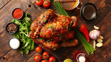 Roasted-whole-chicken-or-turkey-served-with-chilli-pepers-and-chive