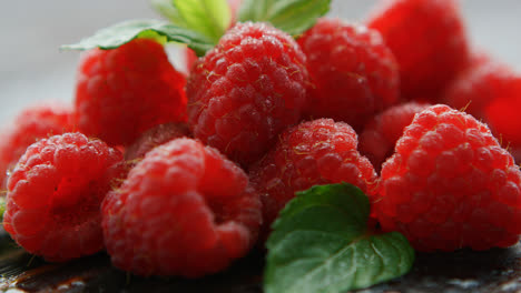 Ripe-appetizing-raspberry-with-leaves-