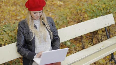 Pretty-woman-using-laptop-in-autumn-park