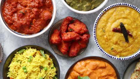 Traditional-Indian-food-in-ceramic-bowls