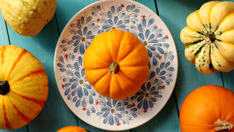Pumpkins-laid-on-plate-and-near
