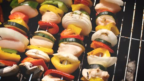 Colorful-and-tasty-grilled-shashliks-on-outdoor-summer-barbecue