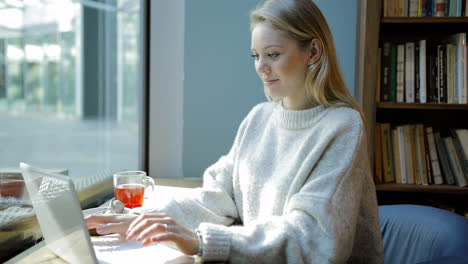 Frau-Mit-Laptop-Vor-Dem-Fenster