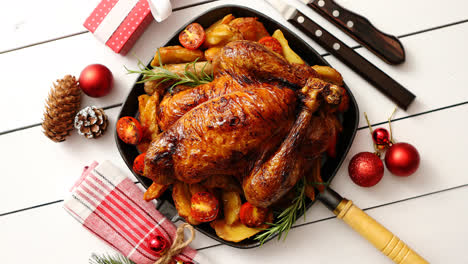 Top-view-of-Baked-whole-chicken-or-turkey-served-in-iron-square-pan