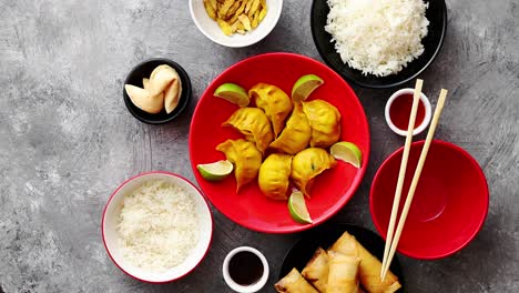 Chinese-food-set-on-stone-table