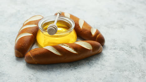 Baguettes-with-jar-of-honey