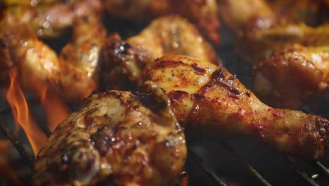 Delicious-chicken-pieces-frying-on-barbecue-grill