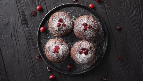 Fresh-and-tasty-chocolate-muffins-served-on-plate