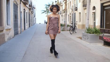 Stylish-woman-strolling-on-street