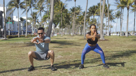 Couple-working-out-in-park