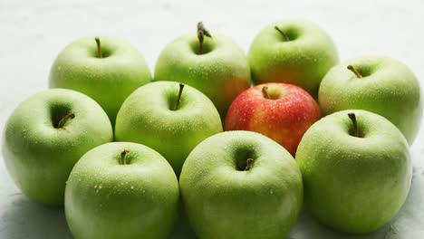 Green-apples-with-red-in-heap