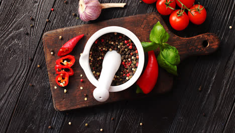Bowl-with-spices-on-chopping-board