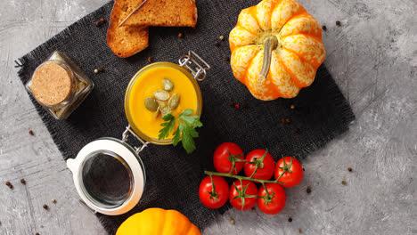 Pumpkin-soup-with-vegetables-on-napkin