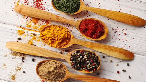 Spoons-with-colorful-mix-of-spices
