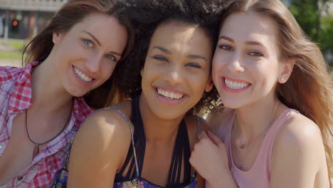Three-young-girls-in-sunny-day