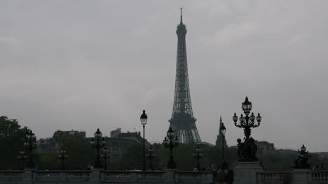 Paris-Alexandre-III-bridge-with-lamp-post-and-gloomy-sky