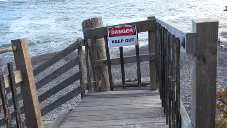 California-staircase-with-warning-sign