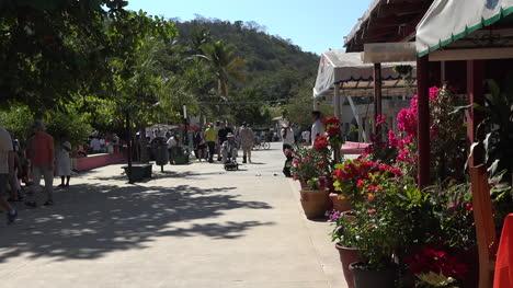 México-Huatulco-Hombre-En-Scooter-Cafe-Con-Flores-