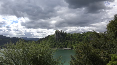 Slovenia-castle-and-dark-sky-at-Bled