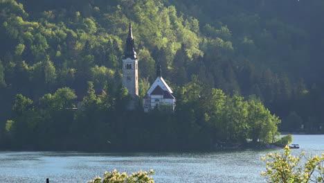 Slovenia-church-on-lake-island-in-Bled