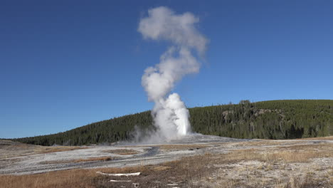 Yellowstone-Old-Faithful-in-eruption-blue-sky