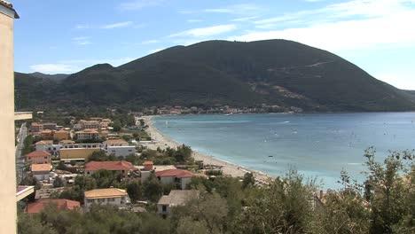 Village-&-windsurfers-on-Lefkada
