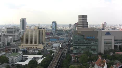 Bangkok-trains-on-rail-line