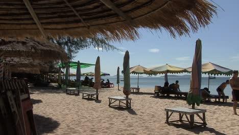 Cambodia-beach-with-umbrellas