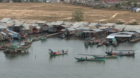 Cambodia-fishing-village-with-boats