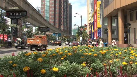 Kuala-Lumpur-street-flowers-&-monorail