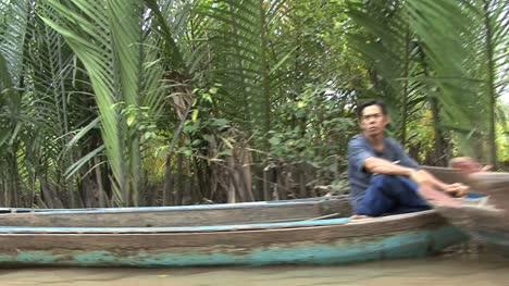 Canoes-along-a-Mekong-backwater