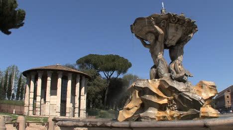 Roman-temple-and-baroque-fountain