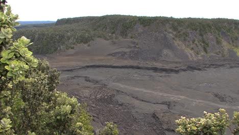 Hawaii-Bushes-frame-Kilauea-Iki-Crater