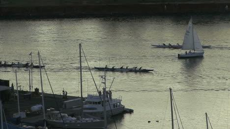 Honolulu-evening-sailboat-and-canoes