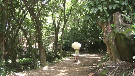Hawaii-Kauai-Man-with-an-umbrella-walks-on-a-path