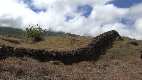 Maui-Stone-wall-and-clouds