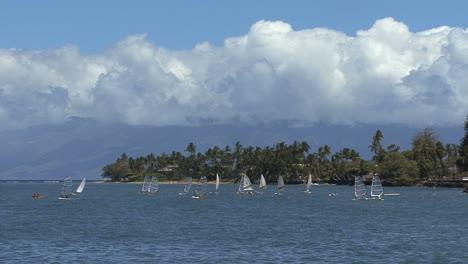 Maui-Windsurfers-clouds-over-Molokai