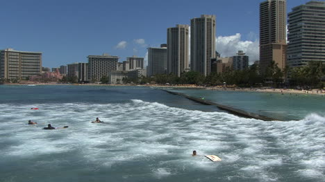 Waikiki-surfers-and-high-rise-hotels