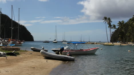 St-Lucia-Marigot-Bay-with-boats-on-beach