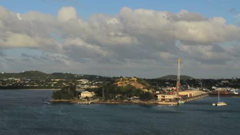 Antigua-St-John-s-fort-from-ship