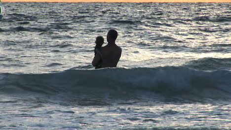 Father-and-son-in-waves